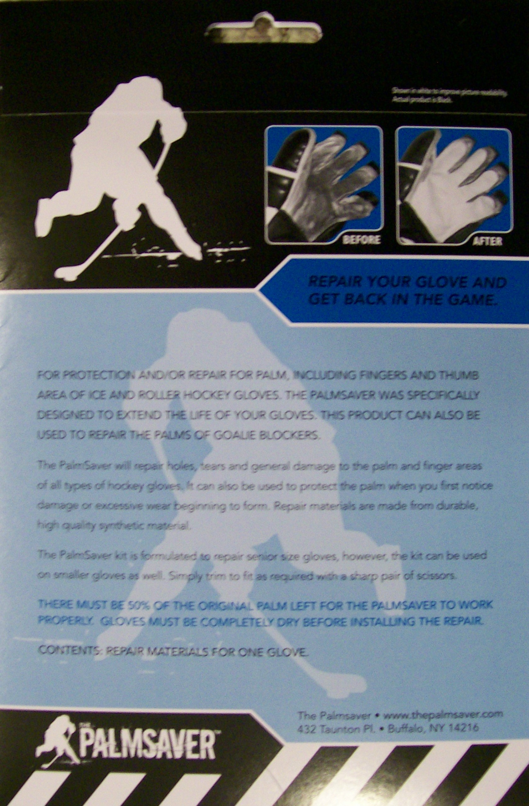 Back of The Palmsaver package